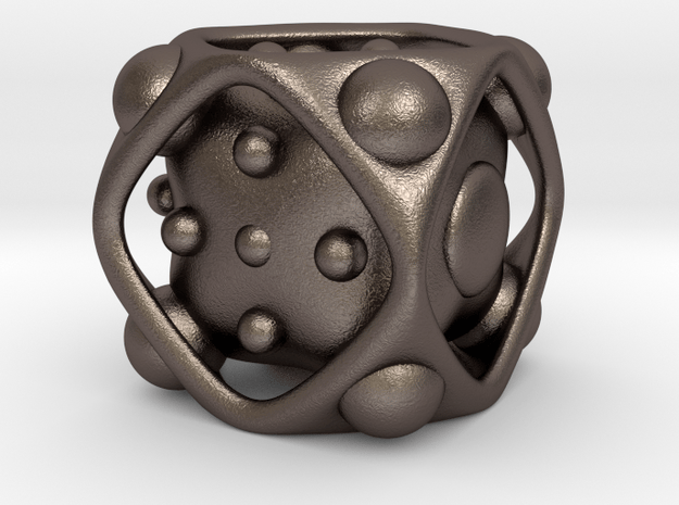 Dice No.2 M (balanced) (2.4cm/0.95in) in Polished Bronzed Silver Steel