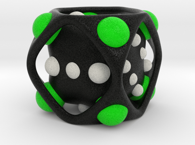 Dice No.2-c Green M (balanced) (3.6cm/1.42in) in Full Color Sandstone