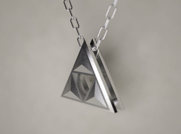 Triforce Pendant in Polished Nickel Steel