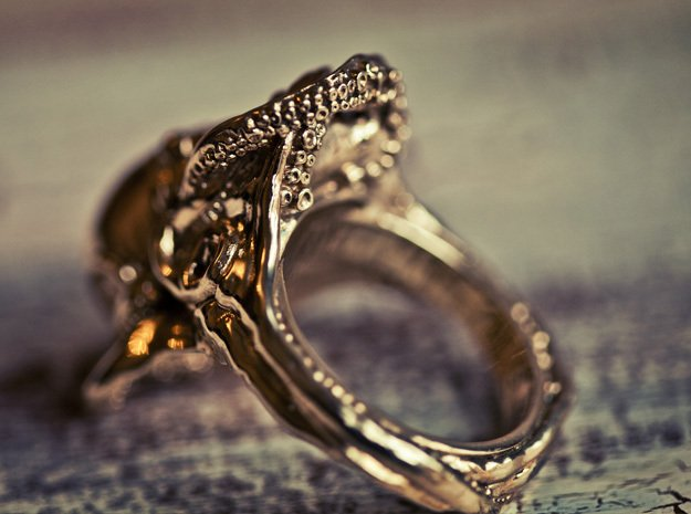Octopus Ring in Polished Brass