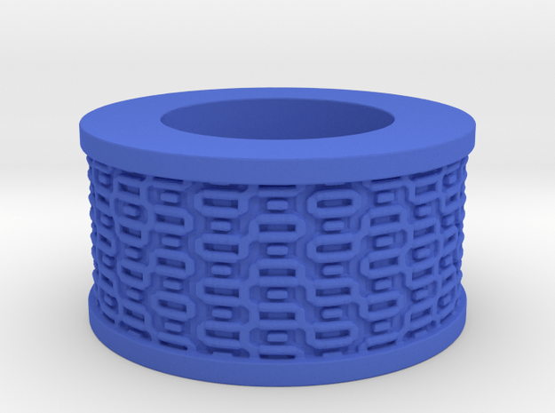 Rectangles pattern Ring Size 11 in Blue Processed Versatile Plastic