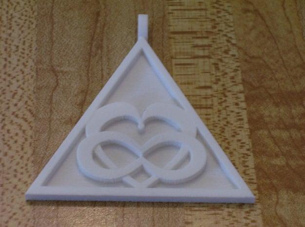 Triangle Infinity Heart Pendant in White Natural Versatile Plastic