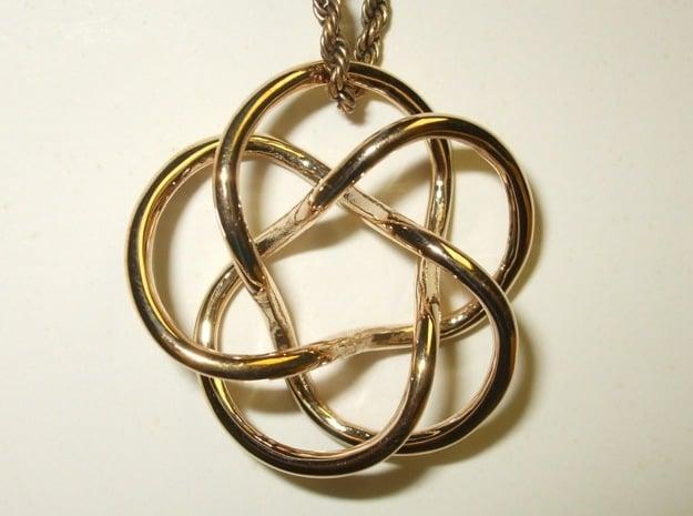 Tubular Torus Knot Pendant in Polished Bronze