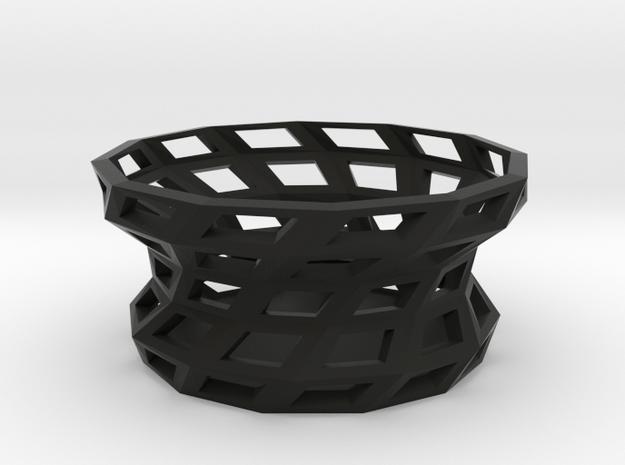 Twisted shapes bowl in Black Natural Versatile Plastic