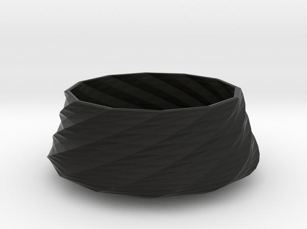 Twisted bowl in Black Natural Versatile Plastic