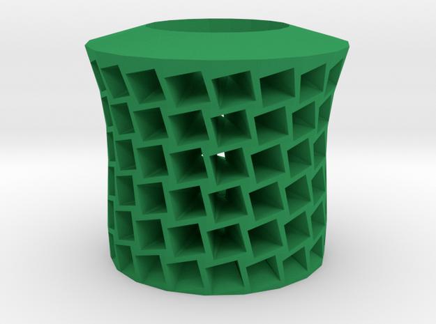 Square holes vase in Green Processed Versatile Plastic