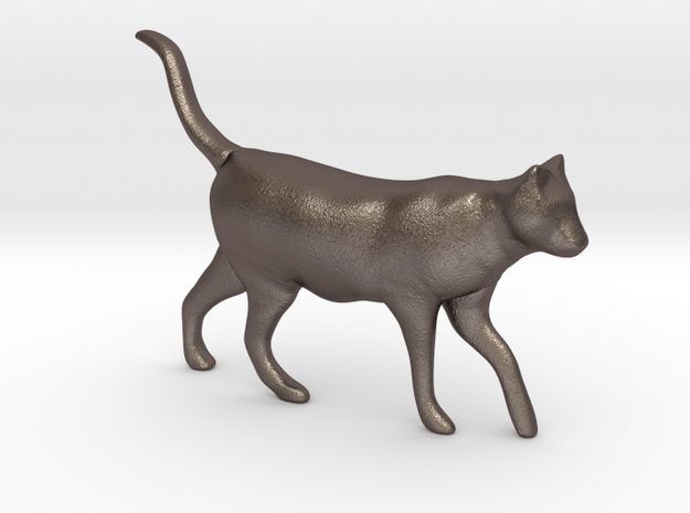 Cat in Polished Bronzed Silver Steel