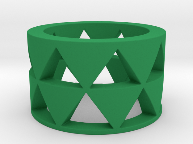 Triangles ring Ring Size 10 in Green Processed Versatile Plastic