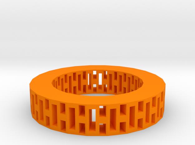 Rectangle holes bracelet in Orange Processed Versatile Plastic