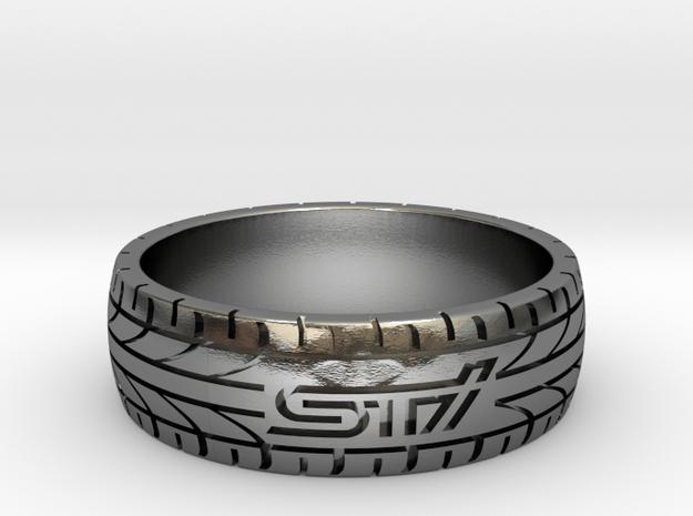 Subaru STI ring - 23 mm (US size 14) in Polished Silver