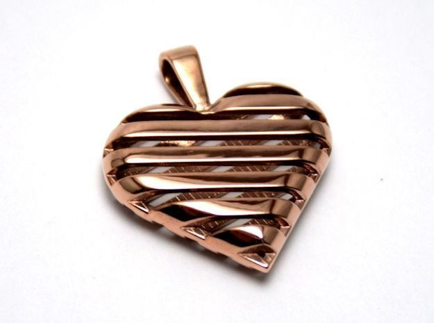 Striped heart pendant in 14k Rose Gold Plated Brass