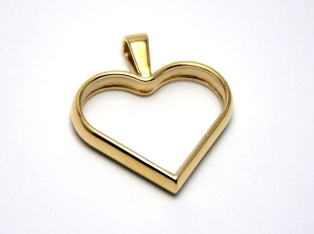Simple heart pendant in Polished Brass
