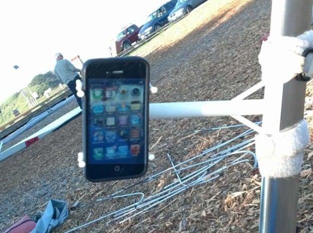 Hang Glider Downtube Bracket Camera Smartphone in White Natural Versatile Plastic