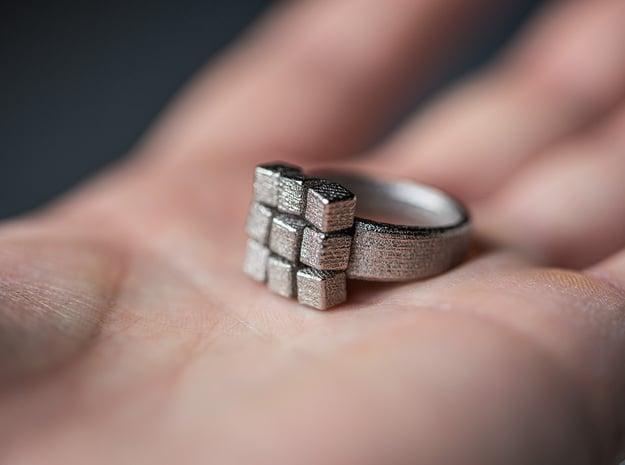 Irregular Cube Ring in Polished Nickel Steel