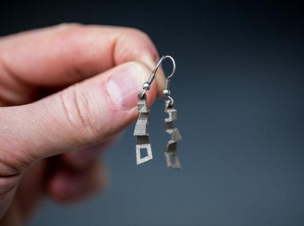 Zigzag Earrings in Polished Nickel Steel