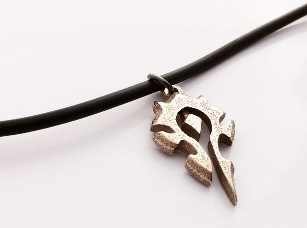 Horde Pendant - World Of Warcraft Necklace in Polished Bronzed Silver Steel