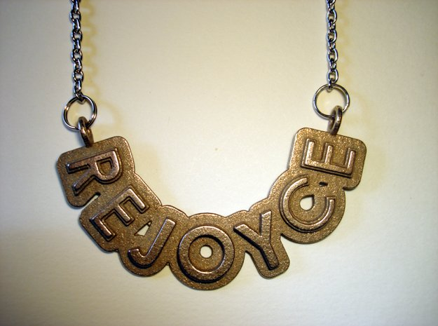 Rejoyce Words in Polished Bronzed Silver Steel