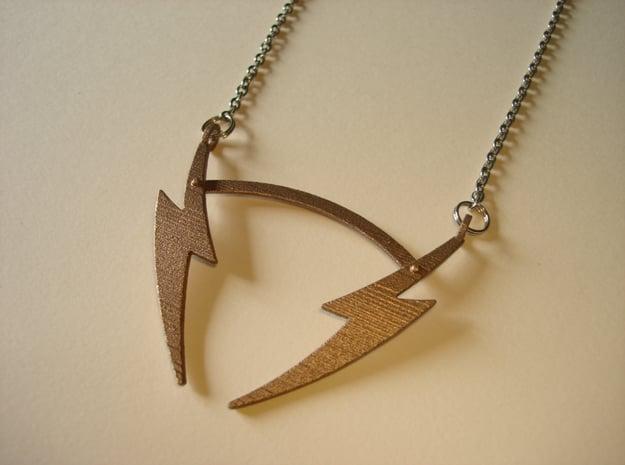 V19 Necklace in Polished Bronzed Silver Steel