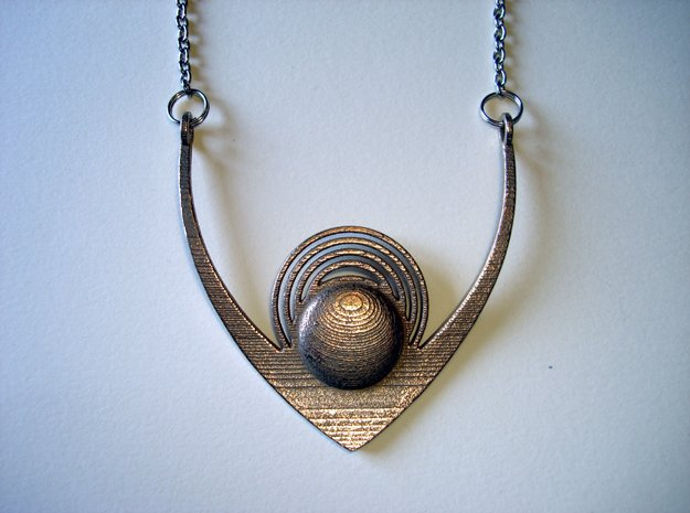 V18 Necklace in Polished Bronzed Silver Steel