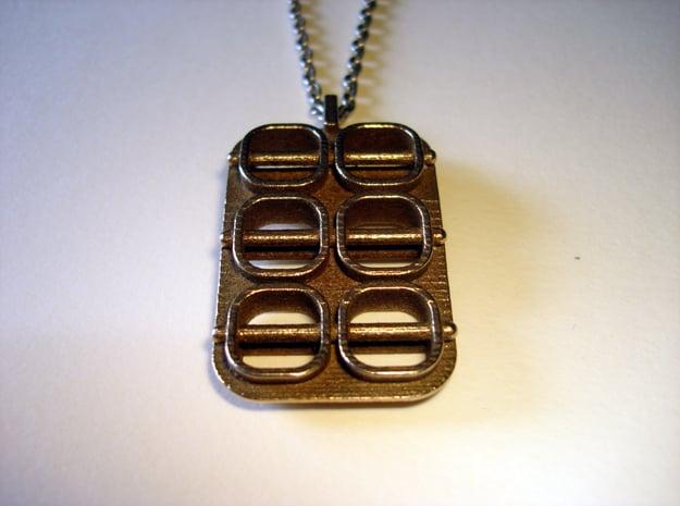Skewed Necklace Pendant in Polished Bronzed Silver Steel