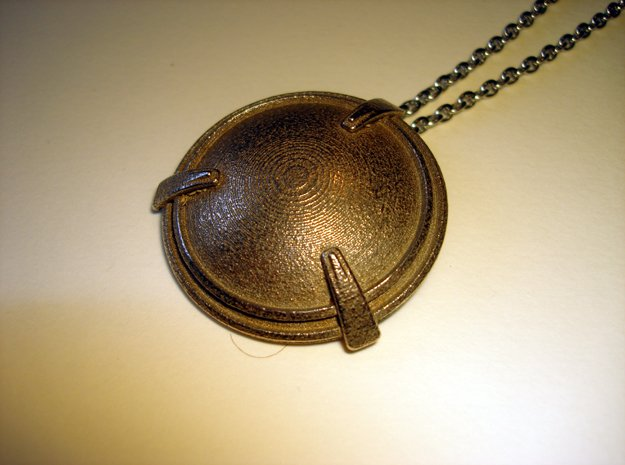 Shield Necklace Pendant in Polished Bronzed Silver Steel