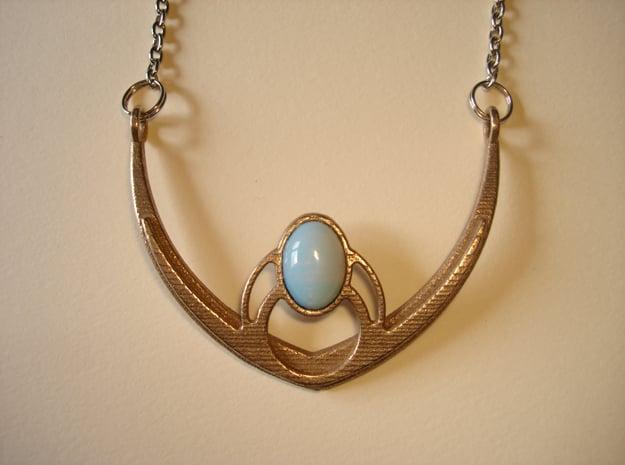 V4 Necklace Pendant in Polished Bronzed Silver Steel