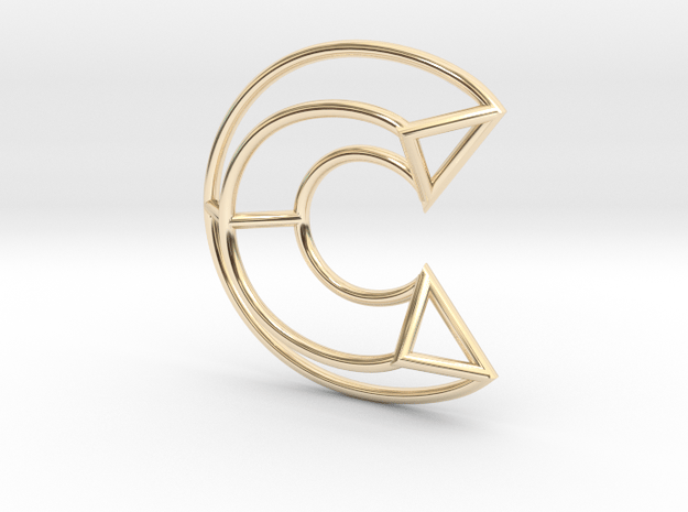 C Pendant in 14K Yellow Gold