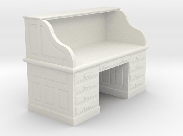 Miniature 1:48 Roll-top Desk in White Natural Versatile Plastic
