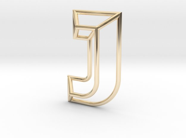 J Pendant in 14k Gold Plated Brass