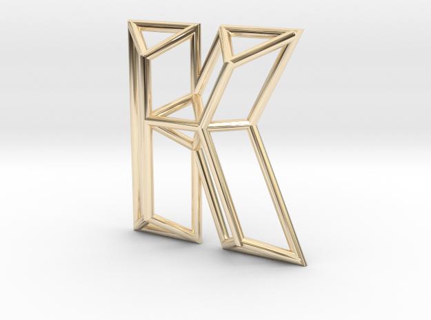 K Pendant in 14k Gold Plated Brass