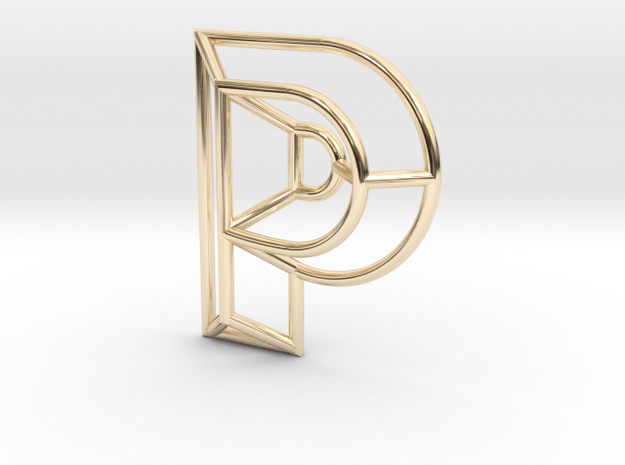 P Pendant in 14k Gold Plated Brass