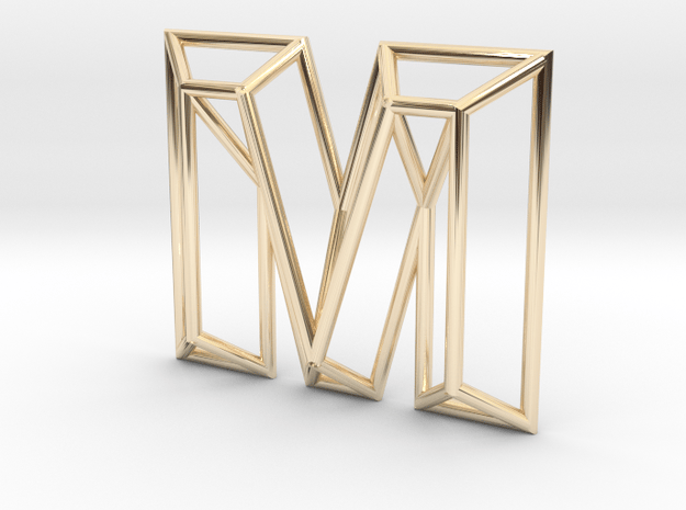 M Pendant in 14k Gold Plated Brass