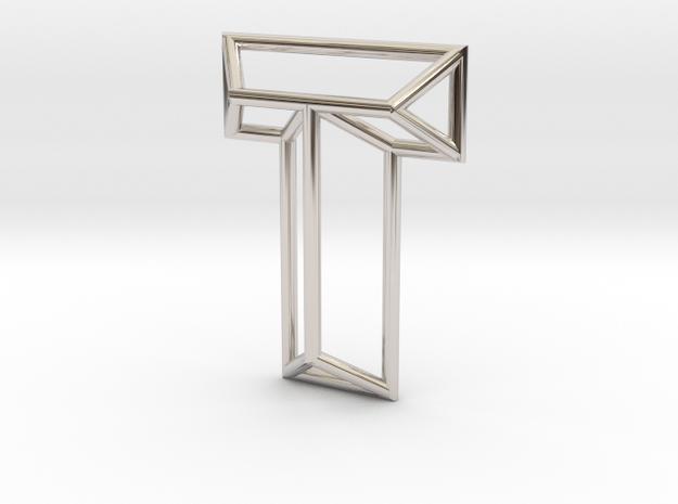 T Pendant in Rhodium Plated Brass