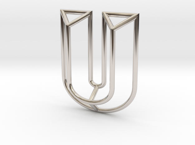 U Pendant in Rhodium Plated Brass