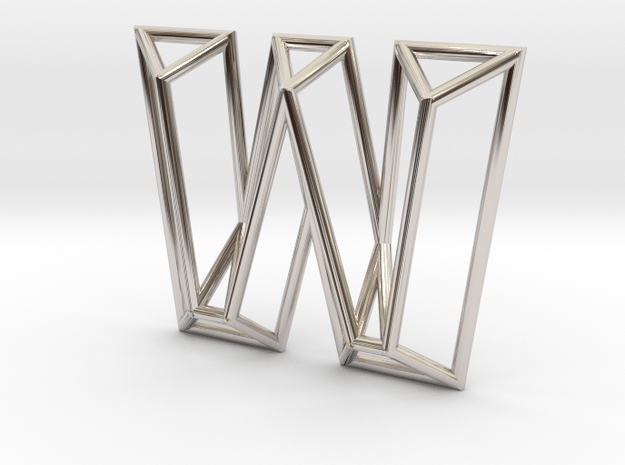 W Pendant in Rhodium Plated Brass