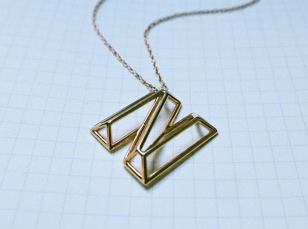 N Pendant in 14k Gold Plated Brass