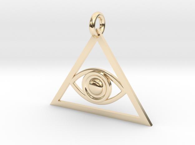 Eye of Providence Pendant in 14k Gold Plated Brass