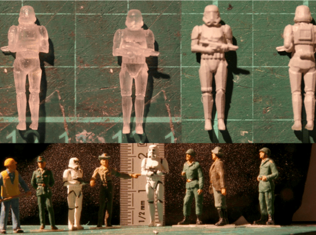 Stormtrooper in position of Attention in Smooth Fine Detail Plastic: 1:87
