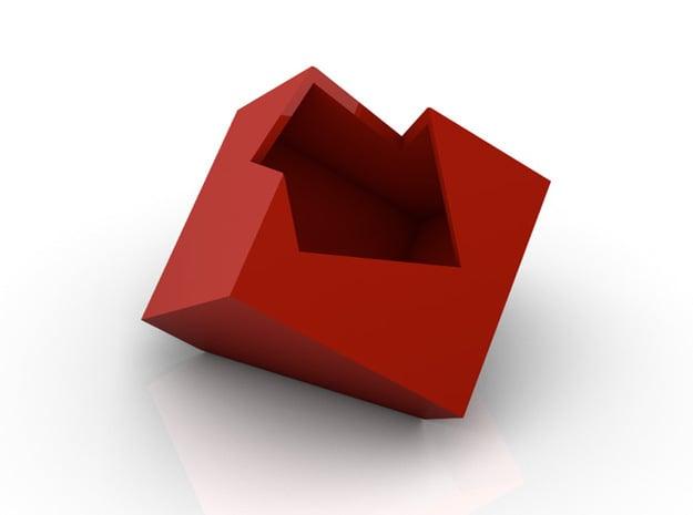Cut Cube in White Natural Versatile Plastic