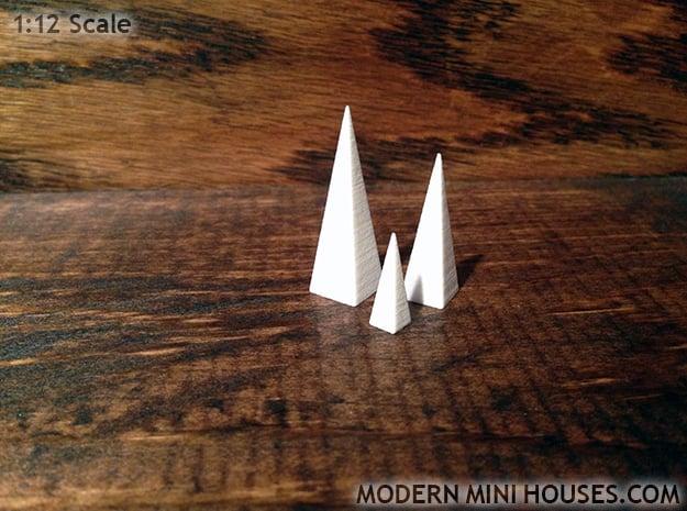Triple Pyramids 1:12 scale decor in White Processed Versatile Plastic