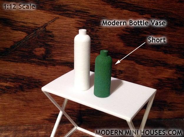 Bottle Vase Short in White Processed Versatile Plastic