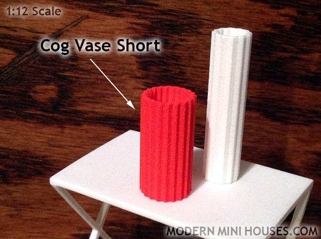 Cog Vase Short 1:12 scale in Orange Processed Versatile Plastic
