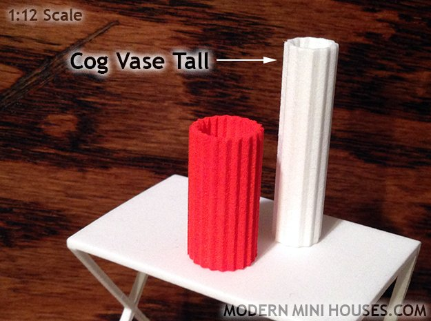 Cog Modern Vase Tall 1:12 scale in White Processed Versatile Plastic
