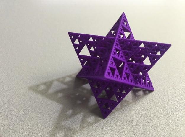 Sierpinski Octostar 3.75cm in Purple Processed Versatile Plastic