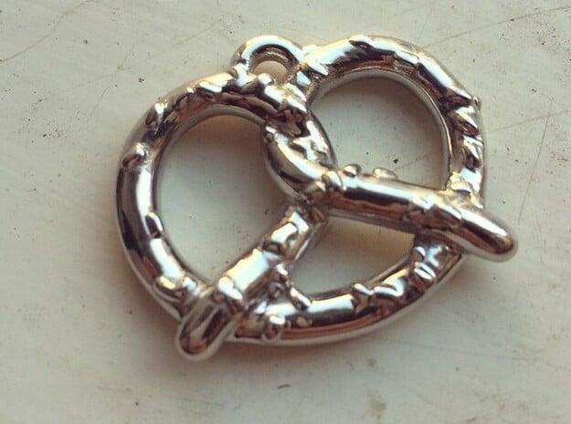 "Pretzel Pendant 1.5"" in Rhodium Plated Brass"