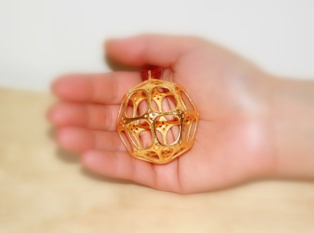 Christmas Bauble No.4 in Polished Gold Steel