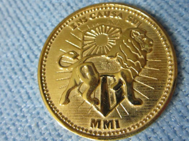 Wick Coin  Brass or Gold in 18k Gold Plated Brass