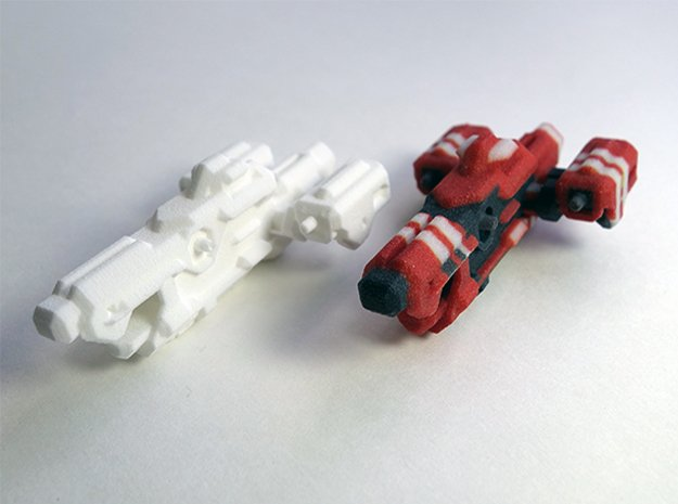 Miniature of Red Ship from Space Engineers game in White Natural Versatile Plastic