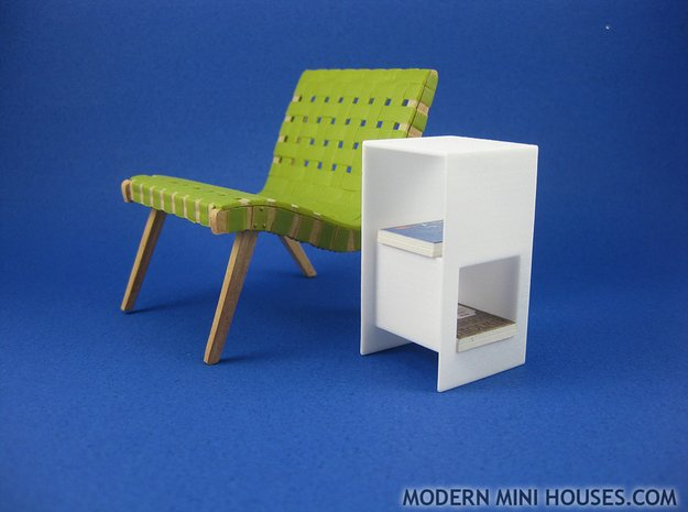 Cubed 1:12 scale Side Table in White Processed Versatile Plastic