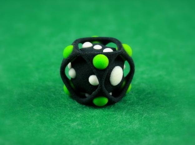 Dice No.2-c Green S (balanced) (2.4cm/0.94in) in Full Color Sandstone
